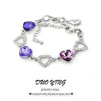 2015 Rock Long Hot Fashion Diamante MultiColor Stones Zinc Alloy Crystal Heart Silver Bracelets  For Women Pulseras pulseiras