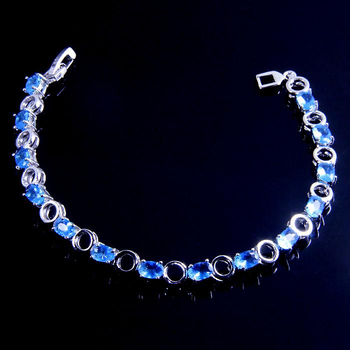 B273 size 18cm silver 18k white gold plate 168JEWELRY classy Brilliant blue sapphire Bracelets EK0001-7(China (Mainland))