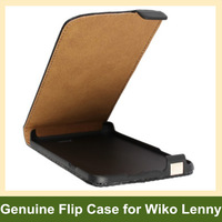 Genuine Leather Flip Cover Phone Case for Wiko Lenny with Magnetic Snap 100pcs/lot