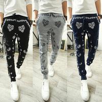 2014 Autumn Mens Harem Pants Slim Fit Fashion Printing Small Leg Opening Sports Hip Hop Street Dance Pants Free Shipping