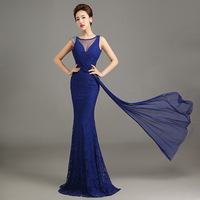 2015 Evening Dress Long Lace Mermaid Sexy Slim Fish Tail Formal  Party Evening Dress Elegant