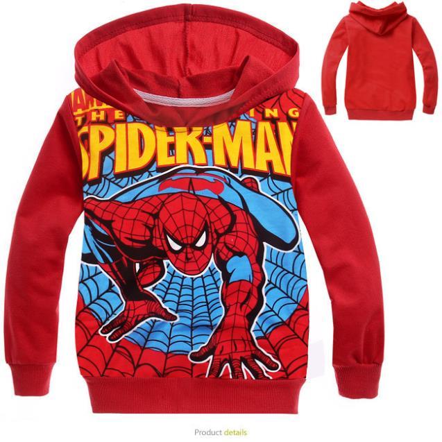 2015 New Kids Spiderman Hoodies Children Cartoon Print Spring & Autumn Outerwear Boys & Girls Cotton Clothes HC243(China (Mainland))