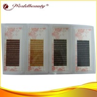 Best 4 tray per lot 5mm 6mm 7mm mix black, dark brown ,med brown and light brown,red brown silk eyebrow extensions