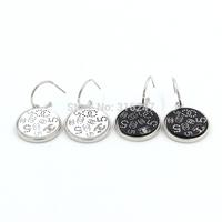 Free shipping wholesale E25100 Enamel Round Shaped Fashion Statement Drop Bohemian Style Silver CC Earrings