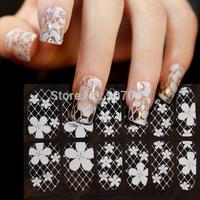 10lot=10set Flower nail stickers White Lace Nail Art Sticker&Decal Manicure Tip Flower nail stickers