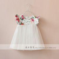 New 2015 girls fly sleeves vest yarn dress baby girls party dress 6pcs/lot