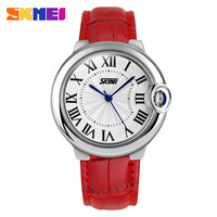 1pc/lot freeshipping 2015 latest new design 100% genuine leather band 3ATM water resistance SKMEI quartz watches