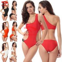 FREE shipping Lately 2015 Single shoulder girls swimsuits Sexy monokini