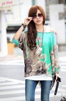 Fashion Women 2015 Chiffon Blouse Art Flower Print Blusas Elegant Woman Clothes Summer Spring Women Shirt Shipping Free