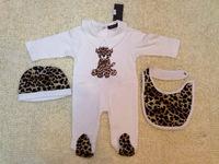 2015 New Fashion Robert Leopard Baby Romper Sets Hat/Cap+One-Piece Footie+Feeding Bibs Newborn Jumpsuits