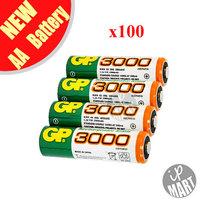Original GP 3000mah AA Battery  1.2V Ni-MH Rechargeable Battery for toy /led flashlight 100pcs/lot