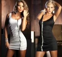 Free shipping 2015 new women Vestido Sexy Dress Front Zipper Party Women's Dress o-neck sheated dress solid casual dress