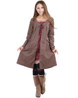 2015 Mori girl flower  clothing tribal Brown fashion fake two piece dress cotton comfort 3KAF198983
