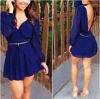 Blue Long Sleeve And Backless Mini Dress Plus Size Chiffon Vestidos Femininos V-Neck Casual Dress Tropical Mulheres De Vestido