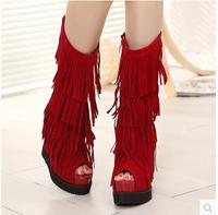 2015 New Style Women Fashion Tassel Boot Peep Toe High Platform Novelty High Heel Shoes Solid Color Side Zipper