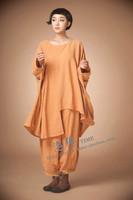 2015 new women Fashion beautiful pure linen fabric loose irregular large size suits