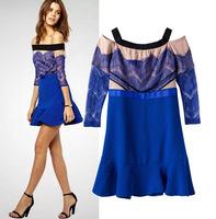 F1211  fashion slash neck Dress  lace collar sleeve dress Slim flounced  elegant women brand tops