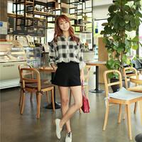Woman Summer Shorts 2015 Spring Fitness Chiffon Solid Black Shorts Zipper High Waist Pants With Pockets Plus Size XXL 1501182