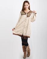 2015 Mori girl flower  clothing tribal elegant contrast stitching in beige single breasted long sleeve dress 3KAF199903
