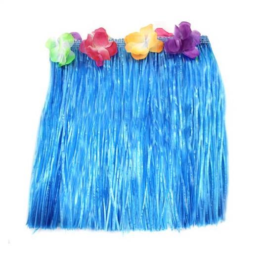 Blue HAWAIIAN HULA saia 40 CM com flores LUAU FANCY DRESS BEACH PARTY COSTUM(China (Mainland))