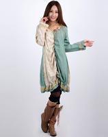 2015 Mori girl flower  clothing tribal spliced green cotton pleated lace v-neck dress 3KAF197751