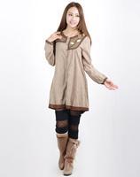 2015 Mori girl flower  light brown elegant contrast color stitching clothing tribe single breasted long sleeve dress 3KAF199985