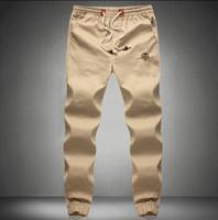 Top 2015 New Fashion Plus Size Drawstring Men Pants Brand Men Fit Cotton Jogger Pants Mid Rise Leisure Trousers