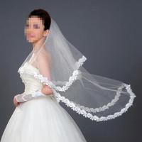 2015 New Applique Edge One-Layer Long Trailing Bridal Veil Wedding Accessories Organza Elegant White Headdress Long Veil