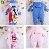 2015 Newborn Baby Cotton Rompers Cartoon Winter Baby Romper Infant Boy Girl Warm Hooded Jumpsuit