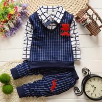 New Arrive Summer Infant Fashion Print Mustache Bow Clothing Set Baby Boy Long Sleeve Plaid T-Shirt Suit Children Twinset