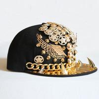 Baseball cap teeth chain wing street dance hip hop rivet punk nightclub performances cap hat tide