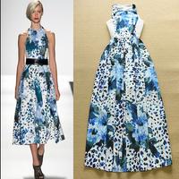 2015 Europe Runway Designer Long Dress Women's Charming Sleeveless Blue Leopard Floral Print Maxi Long Beach Dress