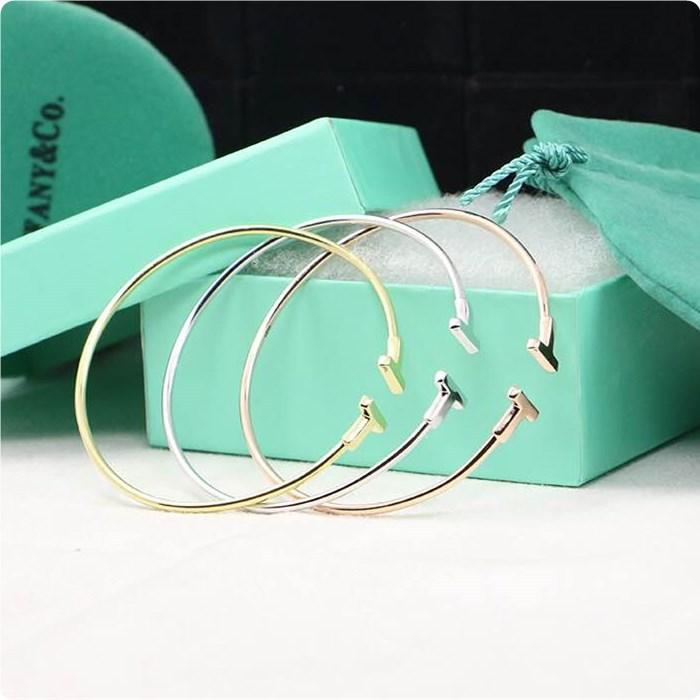 T Bracelet Cuff Bangle 925 Sterling Silver Bangles Women(China (Mainland))