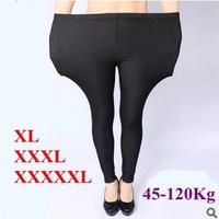2015 New Spring Autumn leggings Women Plus Size XL-5XL 120Kg High elastic imitation jeans women's pants fat female trousers