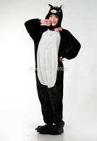 Animal cos black cat Pajamas Adult Women Men Flannel fleece hoodie Onesie Costume christmas clothes Halloween sleepsuit dress