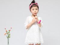 Fashion New 2015 Korean Cotton Flower Girl Dress Girls White Pink Lace Dress Girl's Princess Mini Dress