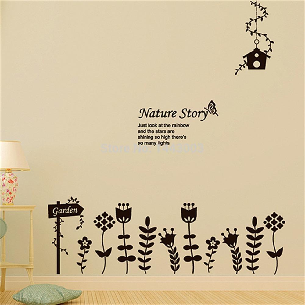 2015 New DIY Free shipping PVC Wall stickers Nature Story Garden Flowers Home Decor adesivo de parede(China (Mainland))