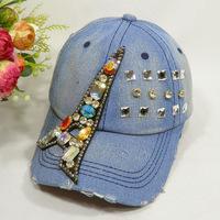 female spring and summer fashion diamond baseball cap women's eiffel tower diamond casual cowboy hat denim cap