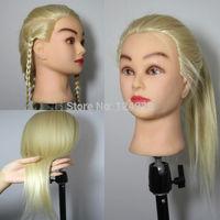 "Blonde 22"" 40% Real Human Hair Training Head Mannequin Salon Doll + Table Clamp"