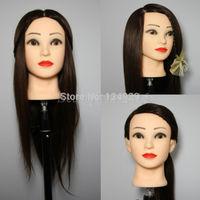 "Brown 24"" 90% Real Human Hair Training Head Hairdressing MANIKIN + Table Clamp"