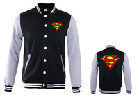 1 PC long Sleeve Leisure Hip Pop Winter Cartoon Style Superman Baseball Varsity Jacket Sweatshirt Men