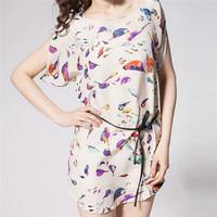 Europe Fashion Plus Size Casual Bat Sleeve Dress for Women Bird Print White Black Chiffon Ladies Vestidos Summer Dresses 30457
