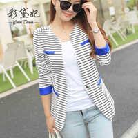 Diana female blazer outerwear 2015autumn women's suit stripe slim top  15020503