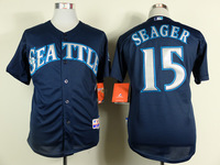 2015 New Baseball Jerseys Mariners #15 Seager  Jersey Blue Color Cool Base Jersey Stitched Size 48-56 Mix Order