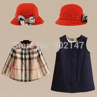 2014 Christmas Clothing Set Fashion Child Autumn Set Brand Design Plaid Girl Shirt +tank Dress+ Hat British Style 3 Piece Suit