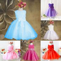Princess Baby Girls Chiffon Dress Beads Flower Wedding Formal Dress Puff Dress