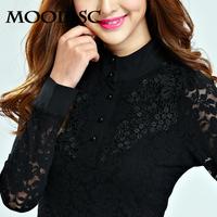 2014 autumn lace basic shirt female long-sleeve t-shirt turtleneck shirt chiffon lace plus size mm