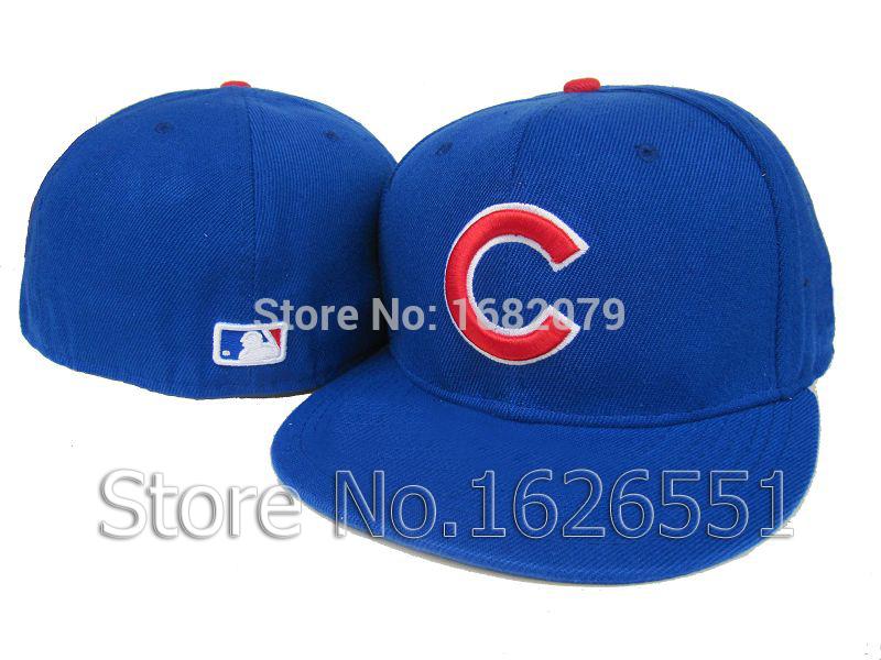 Men's sport team fitted cap flat visor full closed design Chicago Cubs blue baseball hats(China (Mainland))