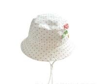 2015 New Children Caps Pink Dot White Color Hat Summer Sunbonnet  Bucket  Girls Beach 5 Size  46cm,48cm,50cm,52cm,54cm