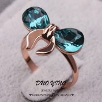 2015 Cute Ladies Rings With Stone 18k Rose Gold Filled Blue AAA CZ Zircon Bowknot Engagement Rings For Women Anillos Aneis